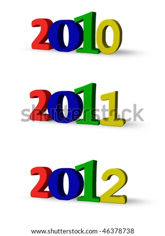 the years 2010, 2011 and 2012 - 3d illustration