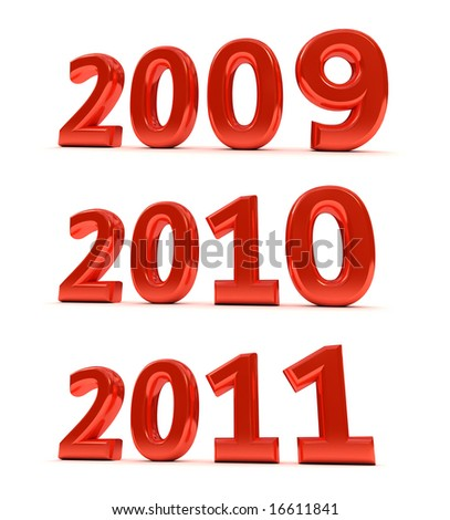 The years 2009, 2010, 2011 as a 3D render over white background