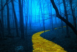 The yellow brick road leading through a spooky foggy forest