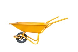 The yellow cement cart, Cart mortar isolate