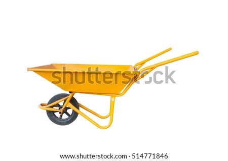 The yellow cement cart, Cart mortar isolate #514771846