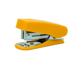The yellow-colored stapler closes up on the white background. Clipping path.
