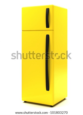 The yellow refrigerator on a white background - stock photo