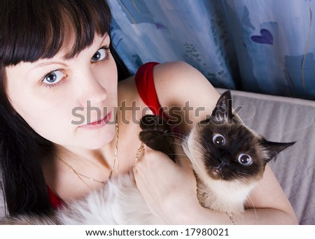 The young beautiful girl with a blue-eyed Persian cat