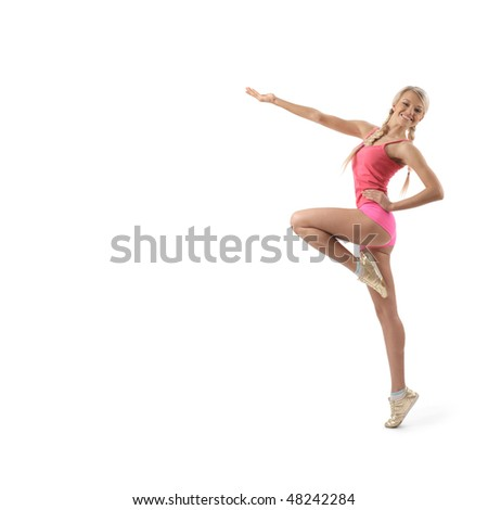 The young beautiful sports girl on a white background