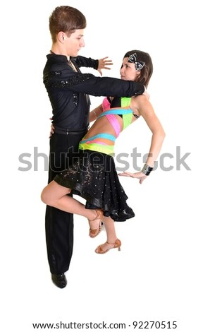The young couple dances the Latin American dance
