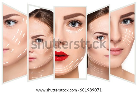 The young female face. Antiaging and thread lifting concept