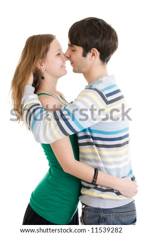 The young flirting couple isolated on a white background