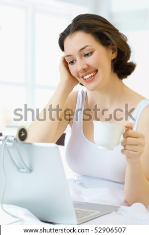 stock photo : the young girl chatting via the webcam. Save to a lightbox ▼