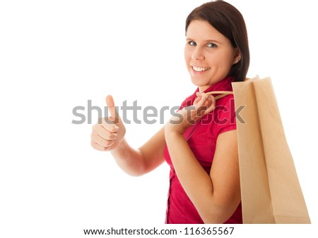 The young girl is carrying a shopping bag