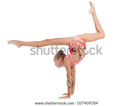 The Young Gymnast Performs Exercises On A White Background Stock ...