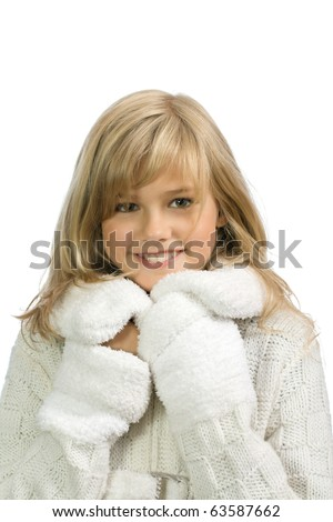 The young happy girl is isolated on a white background - stock photo