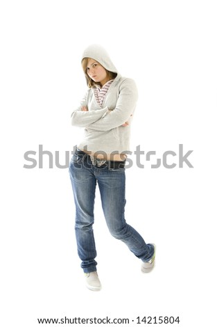 The young hip-hop girl isolated on a white background