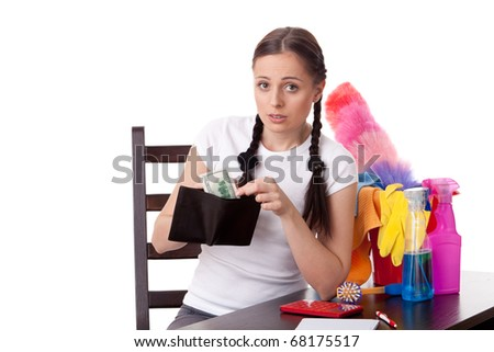 The young housewife plans the family budget on a white background. - stock photo