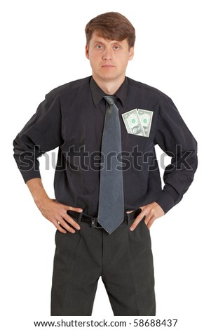 The young man with money sticking out of a pocket
