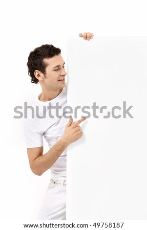 The young man with the empty form on a white background
