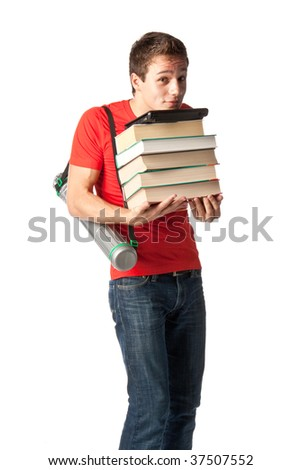 The young man with the laptop and books on a white background