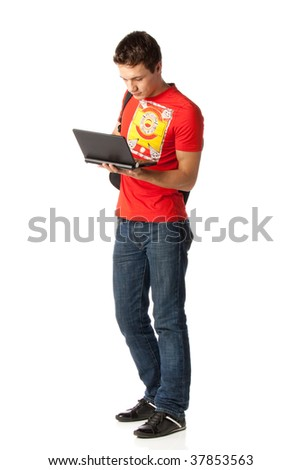The young man with the laptop on a white background