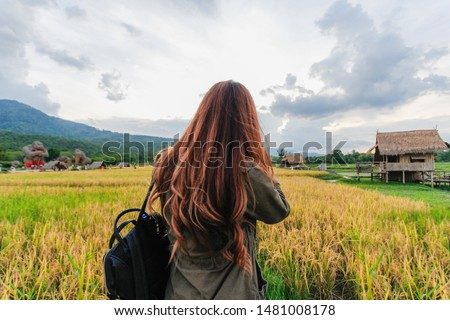 The young photographer is enjoying taking a golden rice field alone in the rice field to record beautiful pictures of nature. The concept of professional photographers who love photography