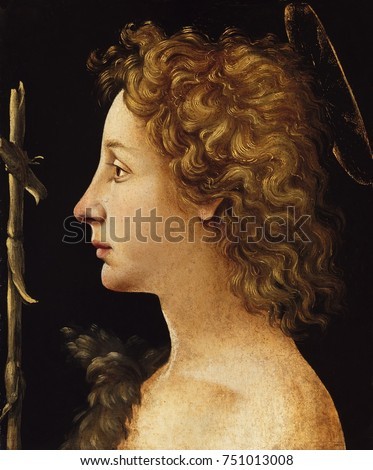 THE YOUNG ST. JOHN THE BAPTIST, by Piero di Cosimo, 1480-1522, Italian Renaissance tempera painting. Saint John the Baptist portrayed in profile with a rustic cross, a halo, and wearing a camel skin.