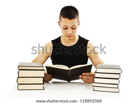 The young student with the books.  Isolated on a white background
