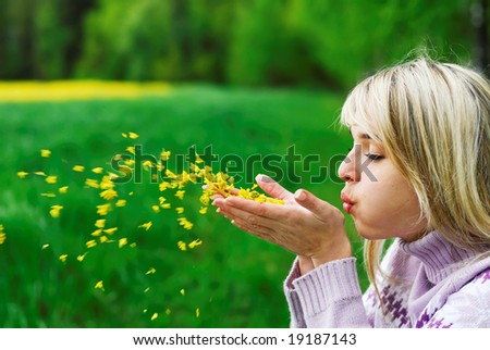 The young woman blows off yellow petals of a flower from palms against field and wood