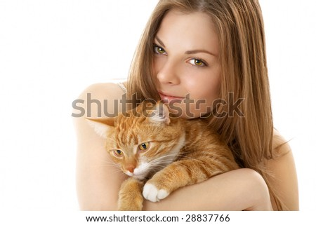 The young woman has control over the red cat, isolated