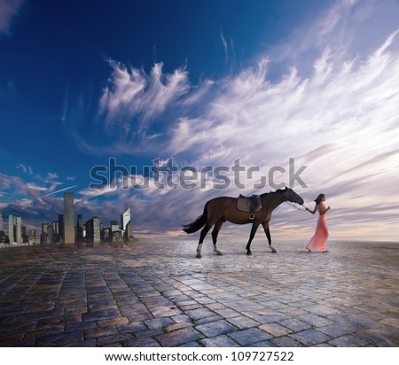 The young woman with a horse leave a city
