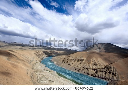The Zanskar valley with river in Ladakh. Himalayan scenic. India.