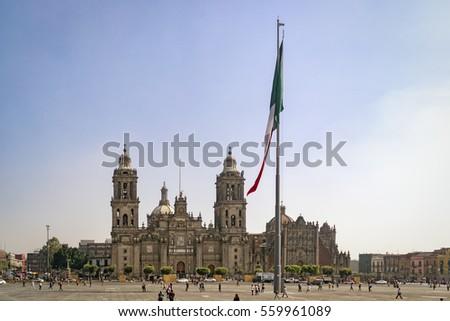 Shutterstock The Zocalo in Mexico City (Plaza de la Constitución - Zocalo - la Catedral Metropolitana de la Ciudad de México)