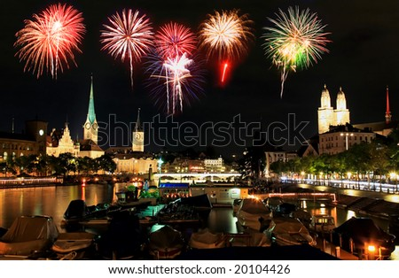 The Zurich City Skyline at night with firework illustration - stock photo
