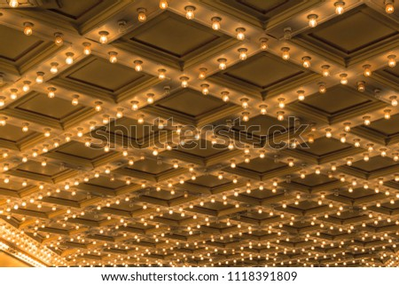 Theater ceiling retro marquee lights on Broadway #1118391809