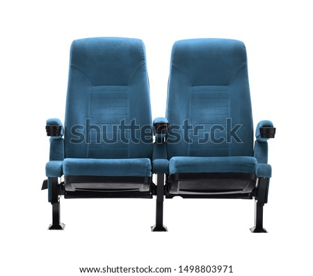 theater chair double seat isolated over white background, movie seat