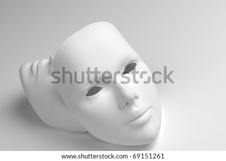 Theater concept with the white plastic masks on white.