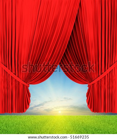 Theater curtain illustration with nature