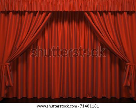 Theater curtain.  Presentation. Movies.