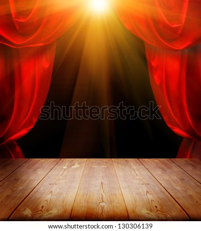 theater curtains and wood floor #130306139