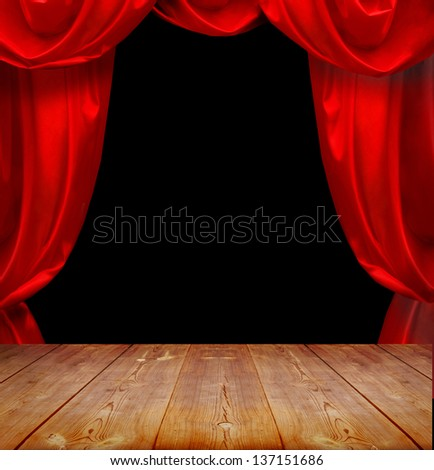 theater curtains and wood floor #137151686