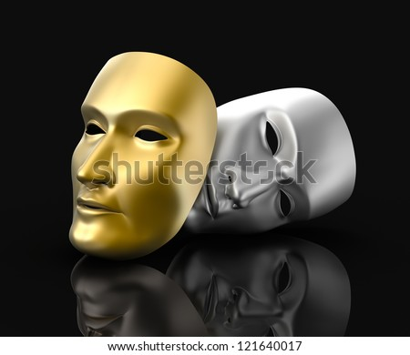 Theater masks concept. On black background - stock photo