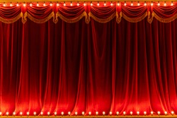 Theater red curtain and neon lamp around border