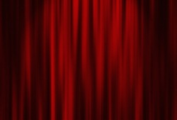 Theater red curtain with spot lighting