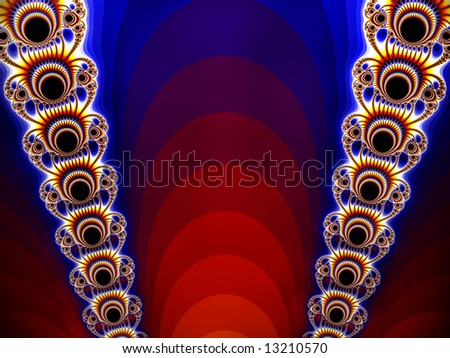 Theater Spotlights Abstract Fractal was created inspired by the curtains of a stage and the old fashioned spot lights that use to be used at a drive-in movie theater show.