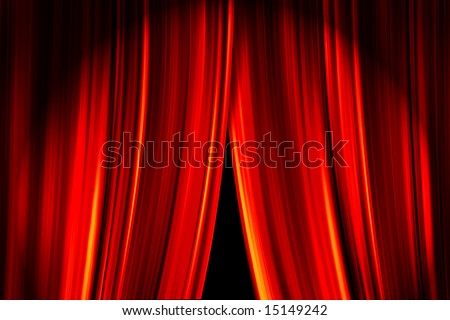 Theater stage red curtains opening for a live performance