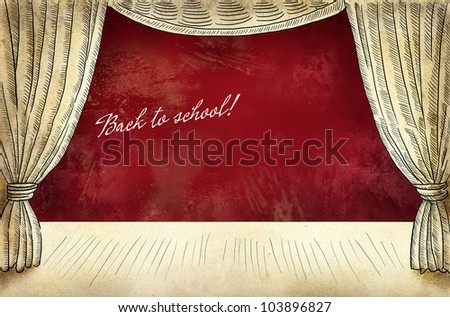 Theater stage with curtain and inscription Back to school