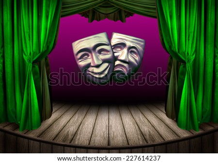 Theater stage with curtains. Old theatrical scene for your design - theater performance with masks of tragic and comedy. Art concept of theatrical poster design.