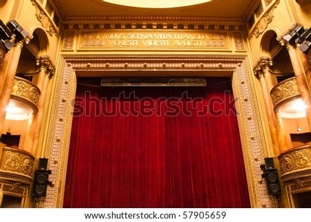 theater stage with red curtain