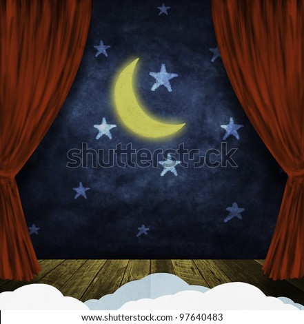 theater stage with red curtains and night sky,stars ,moon background