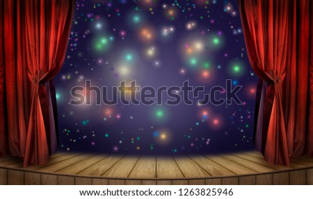 Theater stage with red curtains and spotlight and colorful glow confetti. Theatrical scene in the light of multicolored neon searchlights and glitters, interior of the old theater in festive evening. #1263825946