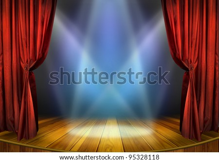 Theater stage with red curtains and spotlights. Theatrical scene in the light of searchlights, the interior of the old theater. #95328118