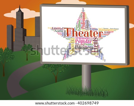 Theater Star Indicating Entertainment Cinemas And Words